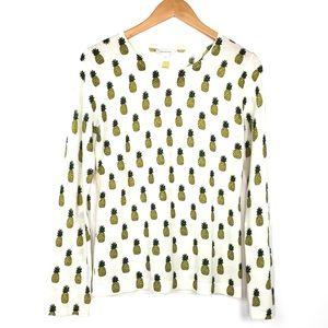 Garnett Hill Ivory Pineapple Print Sweater Sz Med
